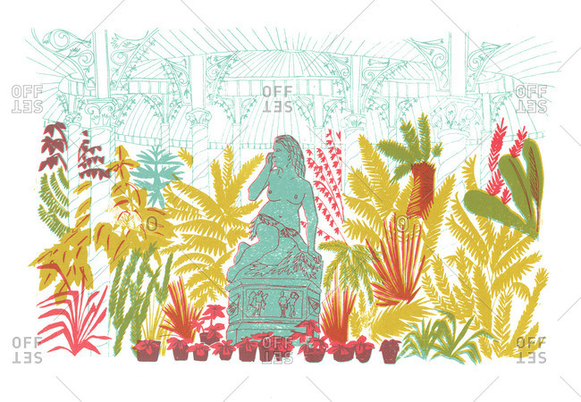 Plants and a statue in a conservatory
