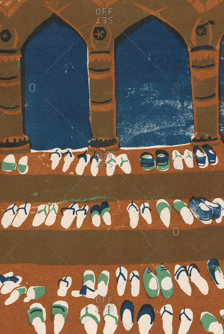 Shoes of Muslim people at prayer