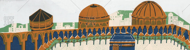 Exterior walls and domes of structures at Mecca
