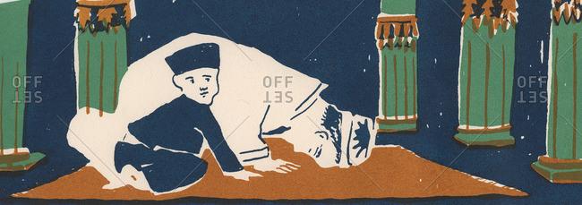 Man and little boy on a prayer rug