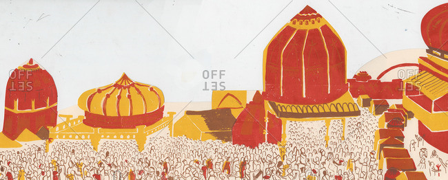 Crowd of people during a Hindu pilgrimage