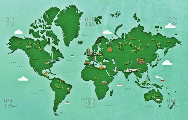 An illustration of a map of the world