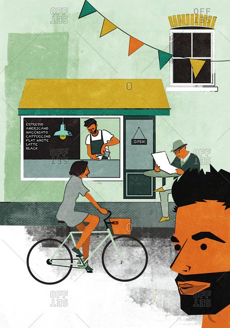 A coffee house on a quaint street