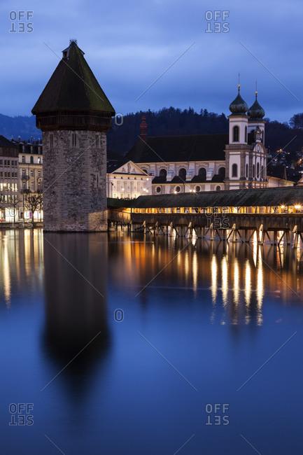 Chapel Bridge and Jesuit Church, Lucerne, Switzerland