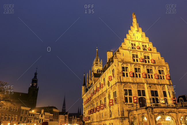 Town square with gothic town hall, Gouda