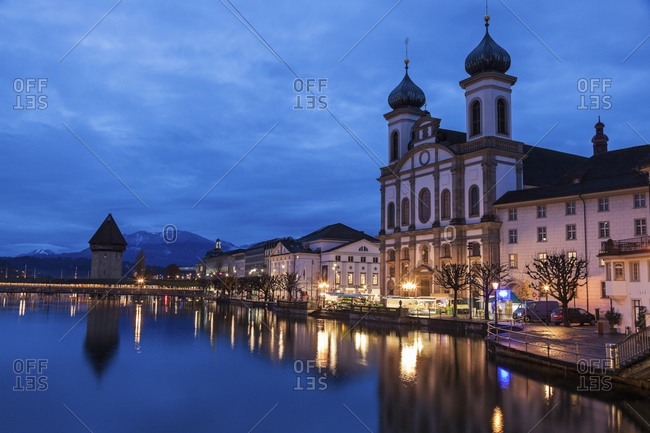 Chapel Bridge and Jesuit Church, Lucerne, Switzerland
