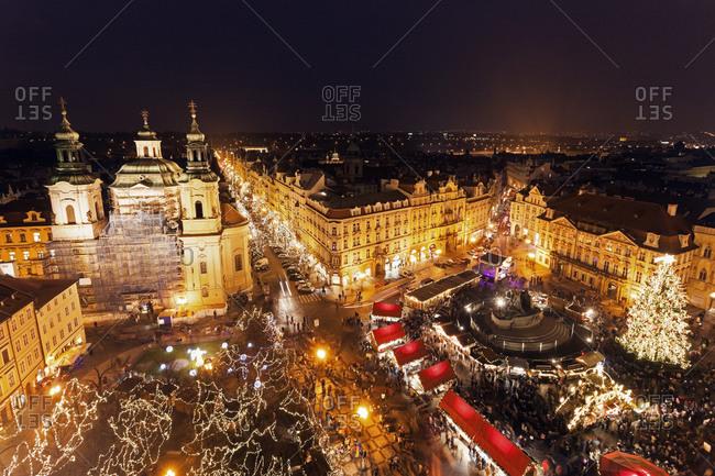 Town square at night, Prague