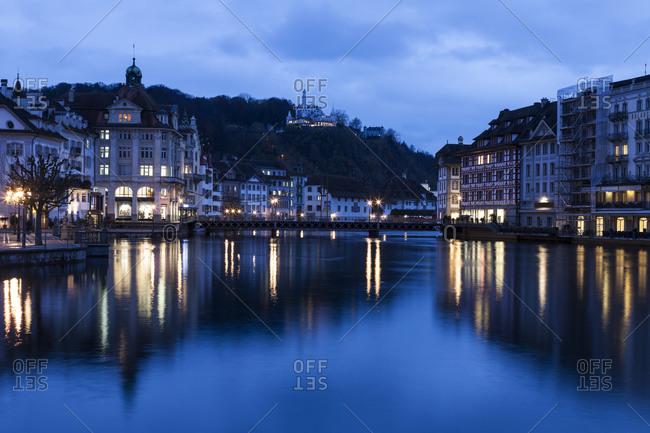 Architecture along Reuss River, Lucerne, Switzerland