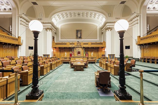 Saskatchewan, Canada - May 26, 2014: Interior of Saskatchewan Legislative Building