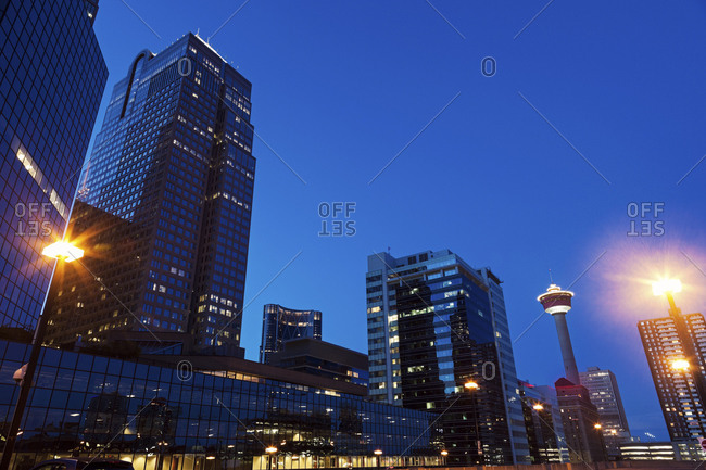 Alberta, Canada - May 31, 2014: Skyscrapers at night