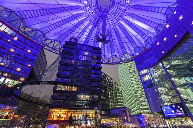 Berlin, Germany - December 30, 2014: Illuminated dome of Sony Center