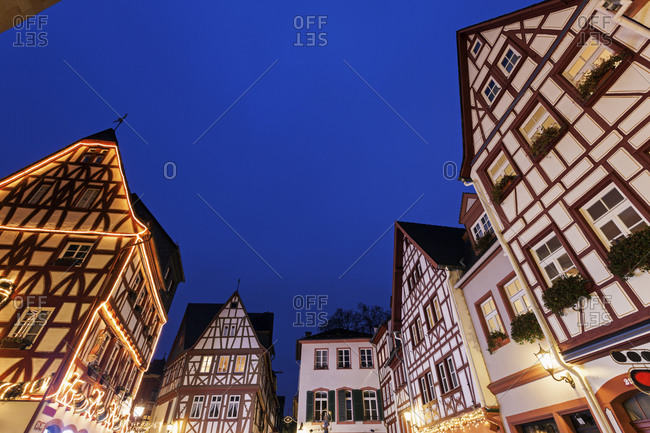 Illuminated half-timbered houses, Mainz - Offset