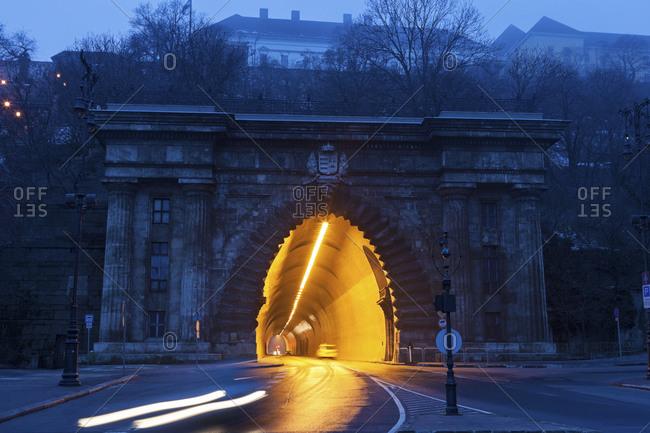 Illuminated end of Buda Castle Tunnel, Budapest