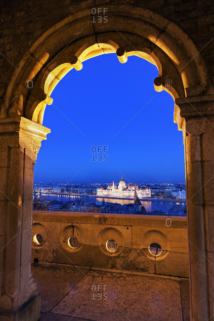 Hungarian Parliament seen through arch of Fisherman's Bastion, Budapest