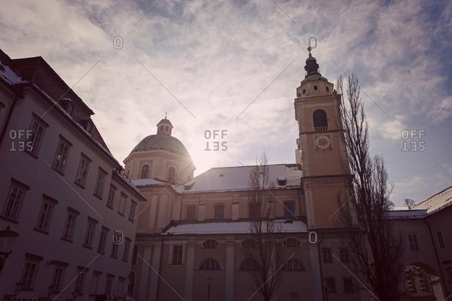St. Nicholas Cathedral in sunlight, Ljubljana