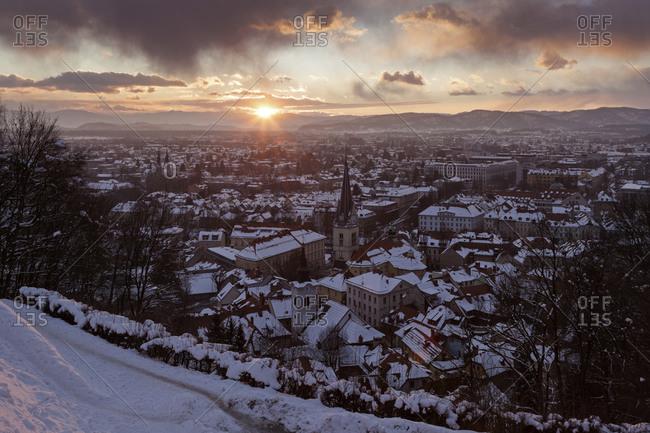 Winter cityscape at sunrise, Ljubljana