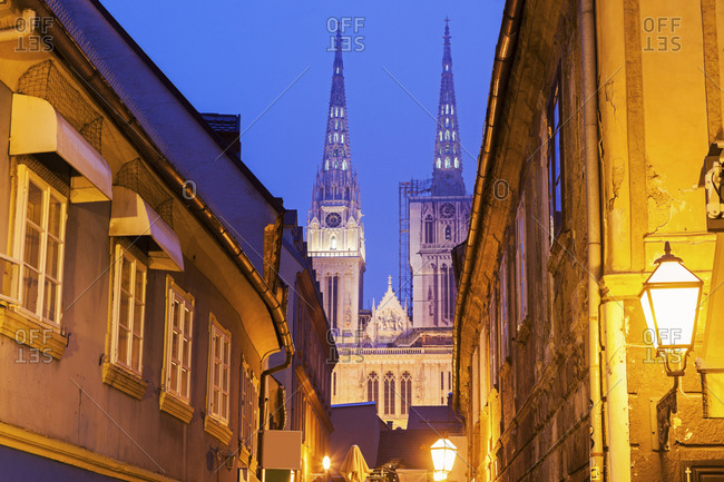 Illuminated street and spires of Zagreb Cathedral, Zagreb