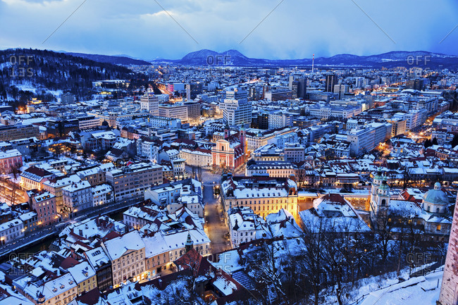 Winter cityscape at dawn, Ljubljana
