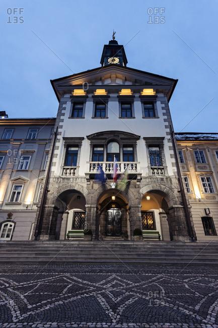 Illuminated facade of Ljubljana City Hall