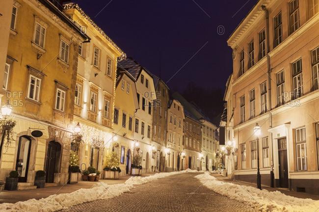 Illuminated old town street, Ljubljana