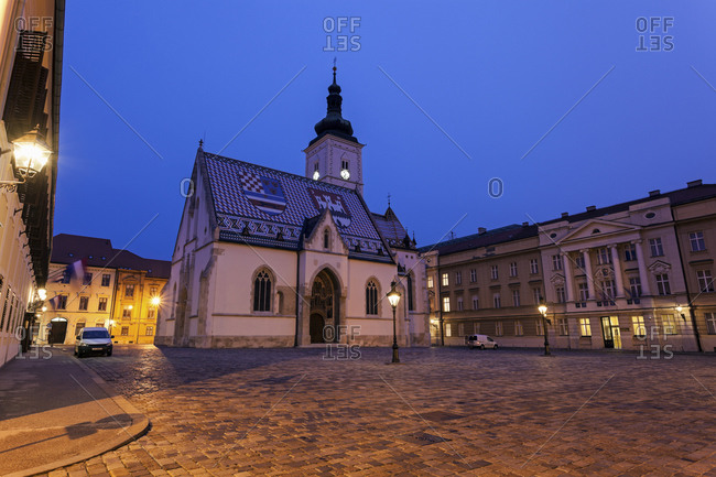 Town square and St. Mark's Church, Zagreb