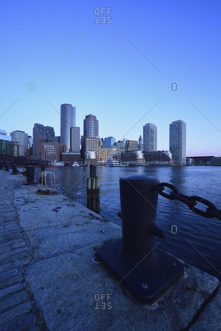Financial district at dawn from Fan Pier, Boston