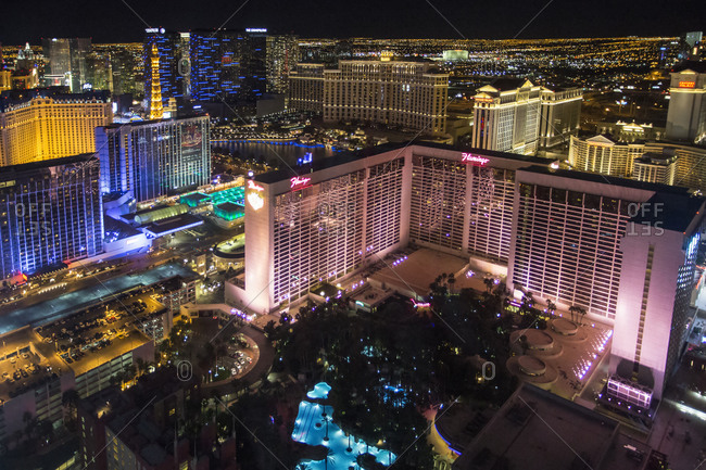 Las Vegas, Nevada, USA - March 5, 2015: High angle view of Las Vegas at night with the illuminated Flamingo hotel