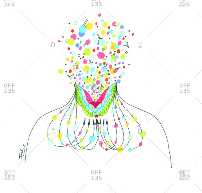 Abstract illustration of chemical affects on a person