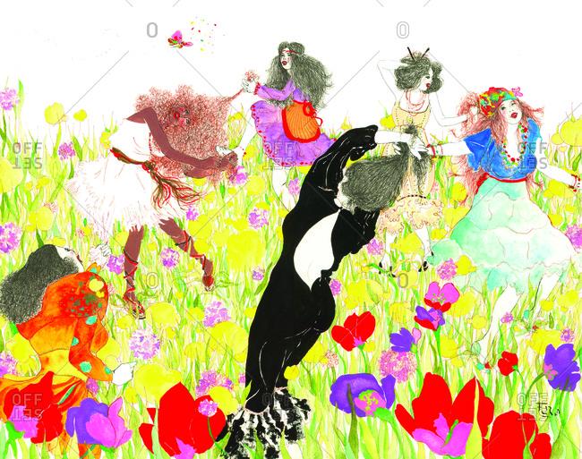 Women dancing in a field of flowers