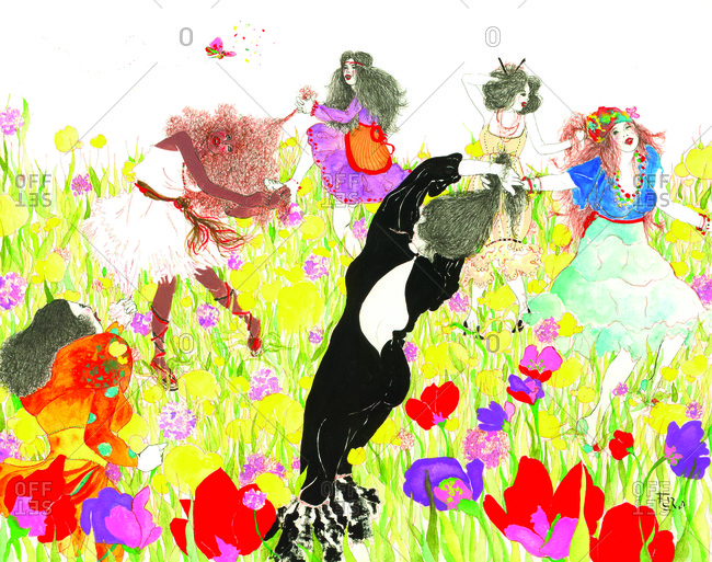 Women dancing in a field of flowers