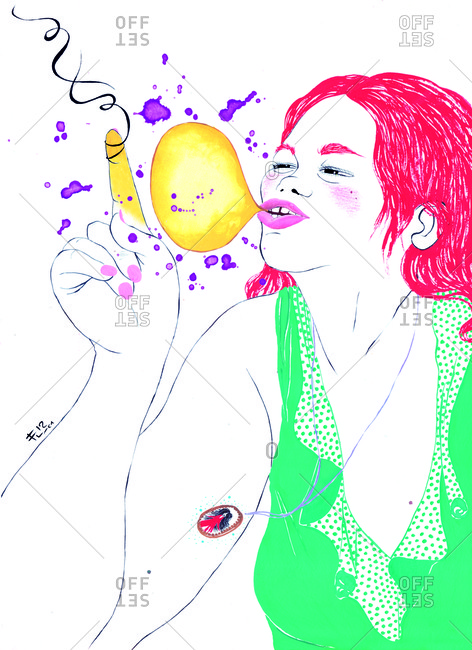 Woman with pink hair blowing a bubble
