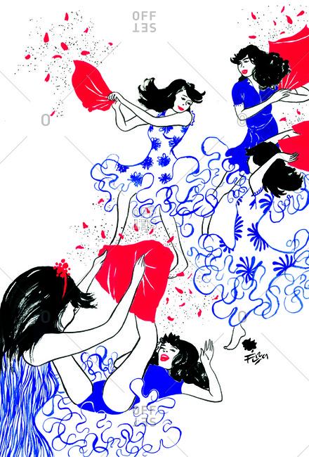 Women having a pillow fight