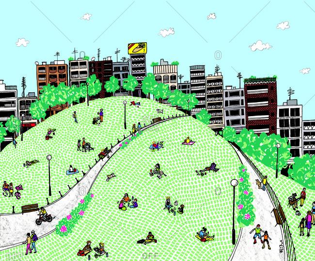 City residents enjoying a park