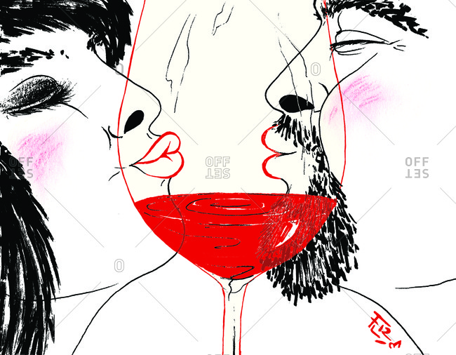 Kissing couple and glass of red wine