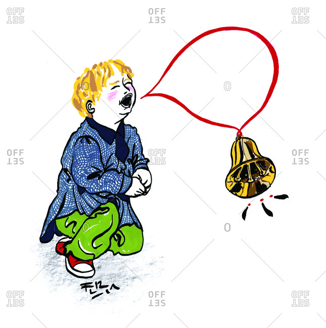 Young boy sounding alarm bell