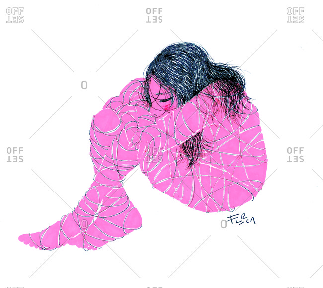 Woman huddling with string wrapped all around her