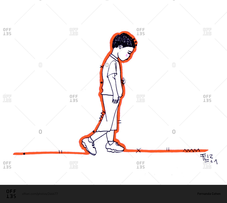 Sad boy walking alone stock photo - OFFSET