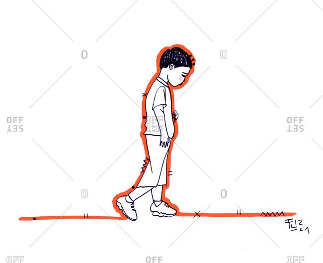 Sad boy walking alone