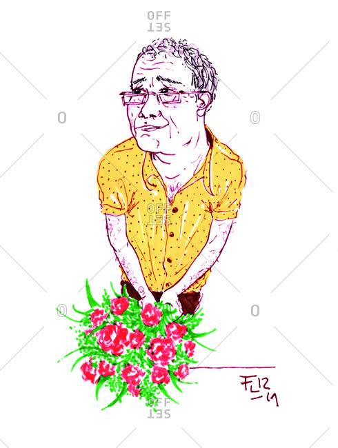 Elderly man with a bouquet of flowers