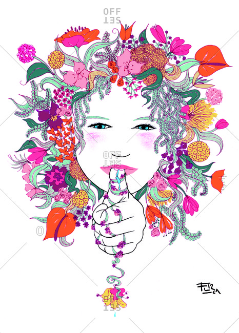 Girl with floral hair sucking her thumb