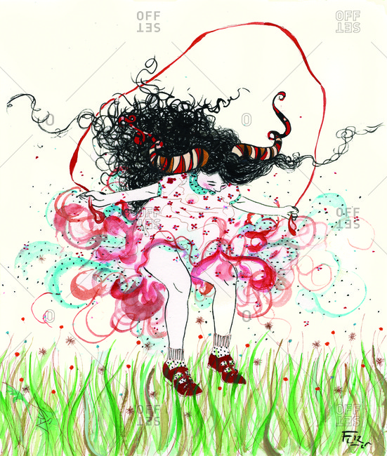 Girl floating above grass while jumping rope
