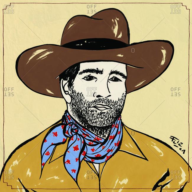 Portrait of a cowboy with blue bandana
