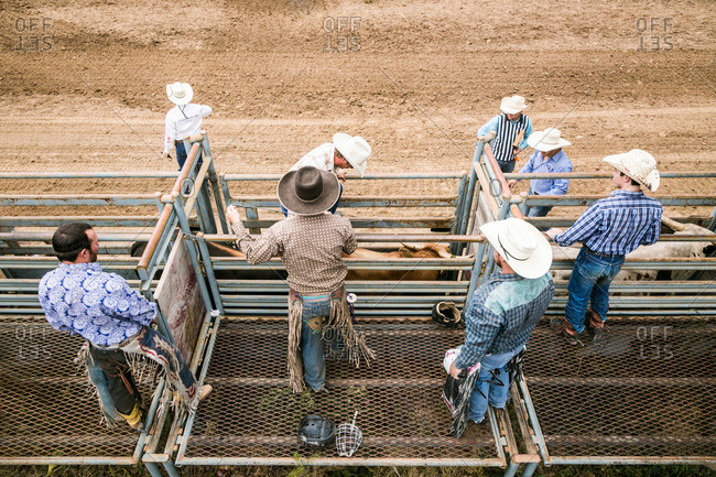 Taos, New Mexico, USA - June 28, 2015: Competitors at a rodeo