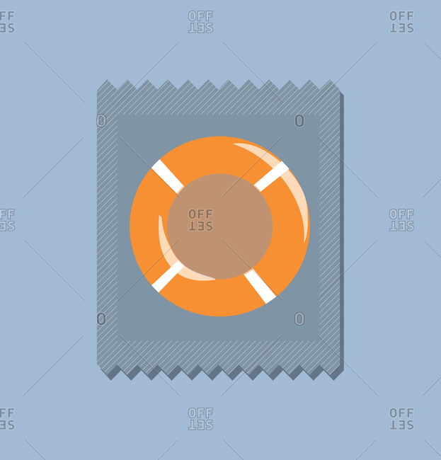 Condom in wrapper in shape of ring buoy