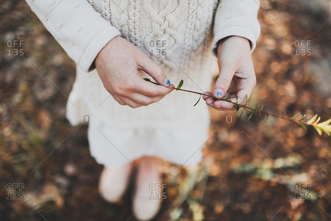 Young girl holding a plant stem