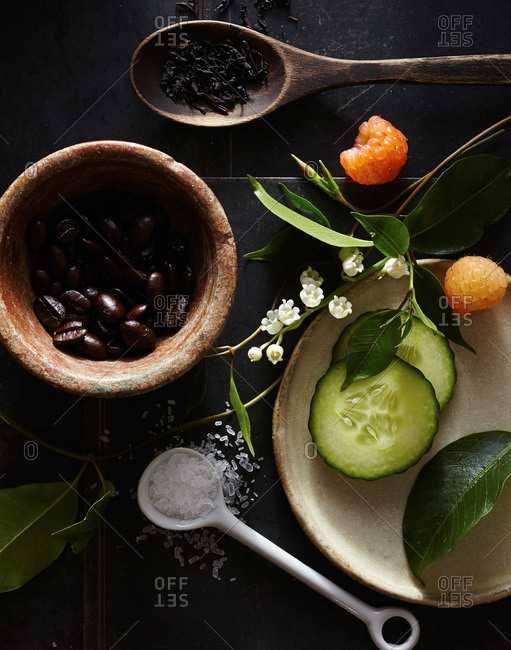 Cucumbers and coffee beans used for beauty treatments