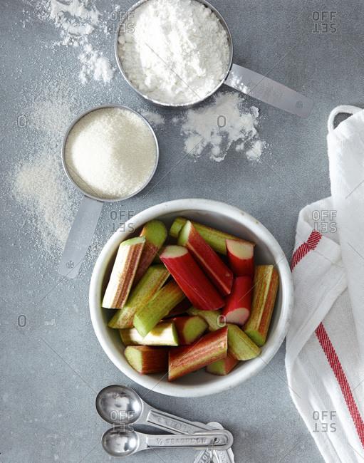 Baking ingredients and rhubarb