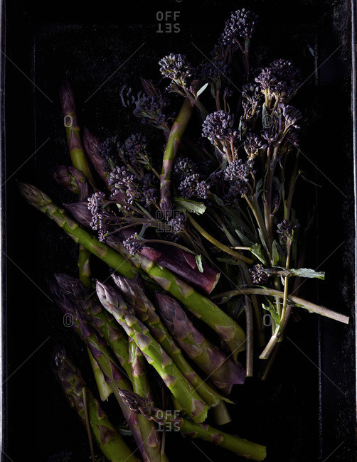 Purple broccoli and asparagus