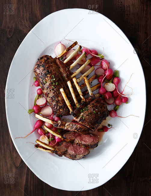 Grilled lamb and radishes
