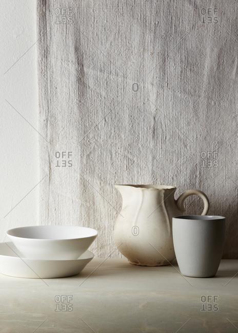 Still life of porcelain dishware